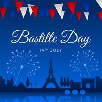 Vetor de modelo de saudação de dia da Bastilha