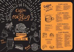 menu da cafeteria. menu do café do restaurante. vetor
