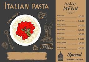 espaguete italiano. projeto do menu de comida. vetor