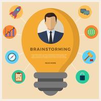 Ilustração de vetor de brainstorming de negócios plana