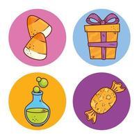 conjunto de ícones do dia das bruxas vetor