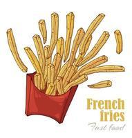 caixa de batatas fritas com tema fast food