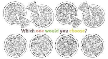 conjunto de diferentes tipos de pizzas vetoriais vetor
