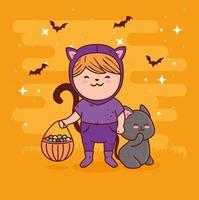 linda garota em uma fantasia de gato com um gato preto para o halloween vetor