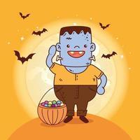 menino fantasiado de monstro para a celebração do halloween vetor