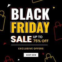 Liquidação de compras na sexta-feira negra com ícones de bolsas vetor