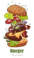 ilustrações sobre o hambúrguer temático de fast food vetor