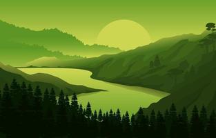 ilustração de paisagem de floresta de montanha ao nascer do sol vetor