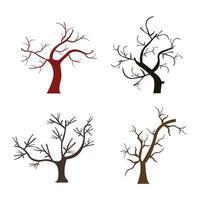 conjunto de árvores secas em fundo branco vetor