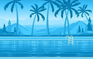 piscina exterior do hotel com vista para palmeiras e colinas vetor