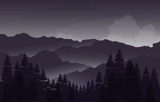 noite calma em ilustração de paisagem de floresta de montanha vetor