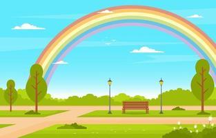 cena de verão com banco, árvores e ilustração de arco-íris