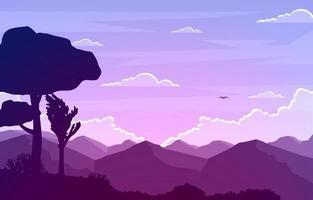 ilustração de paisagem calma montanha floresta vetor