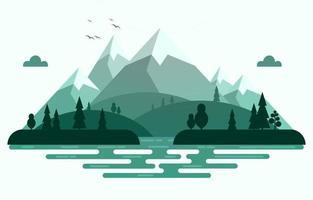 ilustração da cena da natureza da floresta da montanha calma vetor