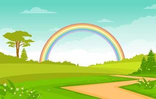 cena de verão com campo, árvores e ilustração de arco-íris