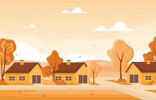 cena dourada de outono com casas e árvores vetor