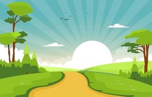 cena de verão com ilustração de caminho, árvores e sol vetor