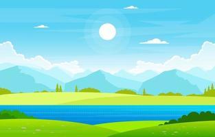 Lago de verão com ilustração de paisagem de campo verde vetor