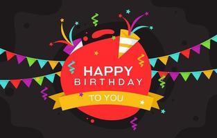 cartão de feliz aniversário com confete e banners vetor