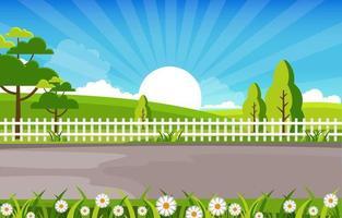 cena de verão com ilustração de cerca, árvores e sol vetor