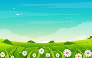 cena de verão com campo verde e ilustração de céu azul vetor