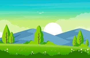 cena de verão com montanhas e ilustração de paisagem de campo verde