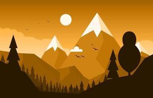 ilustração da cena da natureza da floresta da montanha calma