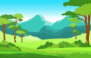 cena de verão com montanhas e ilustração de paisagem de campo verde vetor