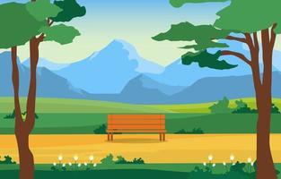 parque de verão com campo, montanhas e ilustração de banco vetor
