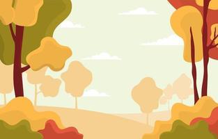cena dourada do parque outono com árvores vetor