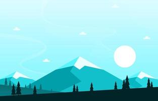 ilustração de paisagem de floresta de montanha ao nascer do sol
