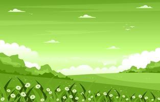 cena de verão com ilustração de campo e céu vetor