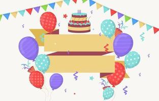 cartão de feliz aniversário com balões e confetes vetor