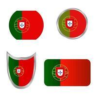conjunto de bandeira de portugal vetor
