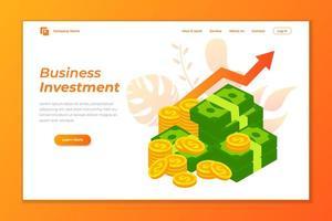 design de vetor de página de destino de negócios. negócio crescer investimento design de vetor de página de destino
