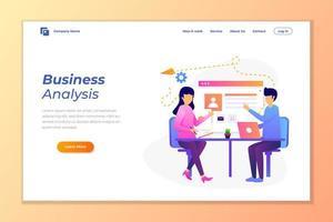vetor de fundo de banner da web para análise de dados, marketing digital, trabalho em equipe, estratégia de negócios e análise.
