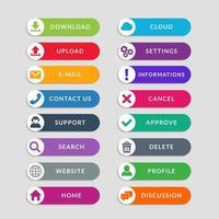 elementos de design de botão de web plana. design simples de botões da interface do usuário da web