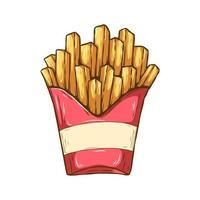 batatas fritas em caixa vermelha vetor
