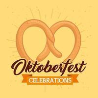 banner de celebração da oktoberfest com delicioso pretzel