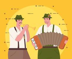 homens alemães em roupas tradicionais com instrumentos para a celebração da oktoberfest vetor