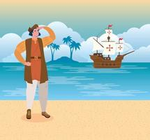 christopher columbus olhando a praia vetor