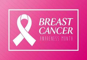 banner com fita rosa, símbolo do mês mundial de conscientização do câncer de mama vetor
