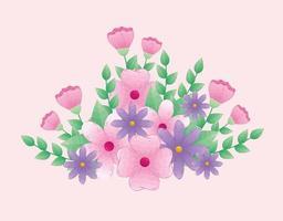 lindas flores rosa e roxas com galhos e folhas