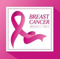 banner de fita rosa, símbolo do mês mundial de conscientização do câncer de mama vetor
