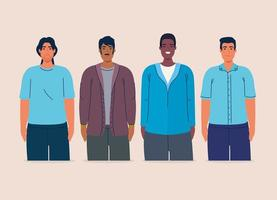 grupo multiétnico de homens juntos, conceito de diversidade e multiculturalismo vetor