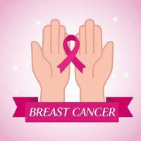 mãos com fita rosa, símbolo do mês mundial de conscientização do câncer de mama em outubro vetor