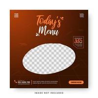 banner de menu de comida post de mídia social