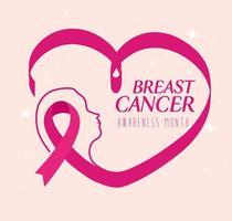 fita rosa em forma de coração, símbolo do mês mundial de conscientização do câncer de mama em outubro vetor