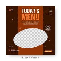 comida menu banner postagem de mídia social. vetor