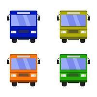 conjunto de ônibus da cidade em fundo branco vetor